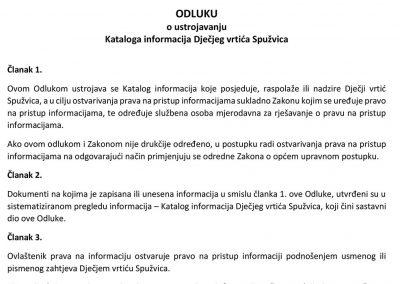 Odluka o ustrojavanju kataloga Dv Spužvica
